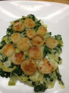 Seared Scallops With Creamy Spinach And Leeks but the spinach/leek ...