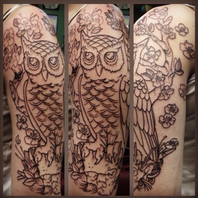 Left half sleeve #owl #tattoo | Tattoos | Pinterest