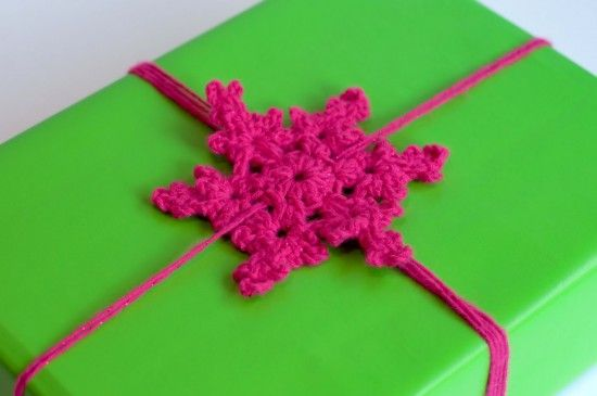 Crochet snowflake gift bow