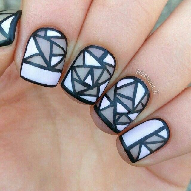 Stained Glass Nail Art: Stained Glass Nailart #black #white #nailart #nails