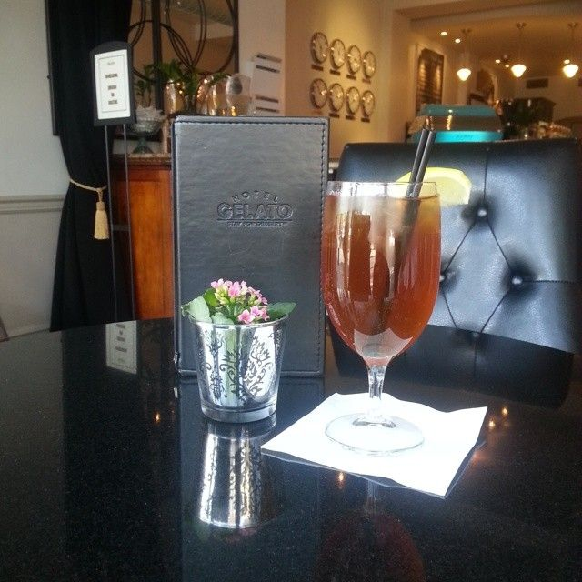 ... famous Tealeaves Ginger Mango Peach blend iced tea at Hotel Gelato