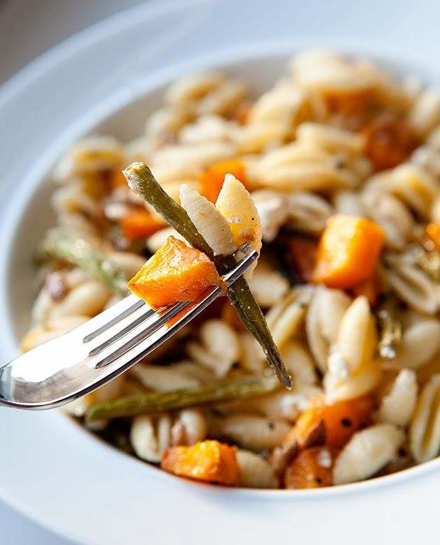 winter pasta. shells, roasted butternut squash and green beans, feta ...