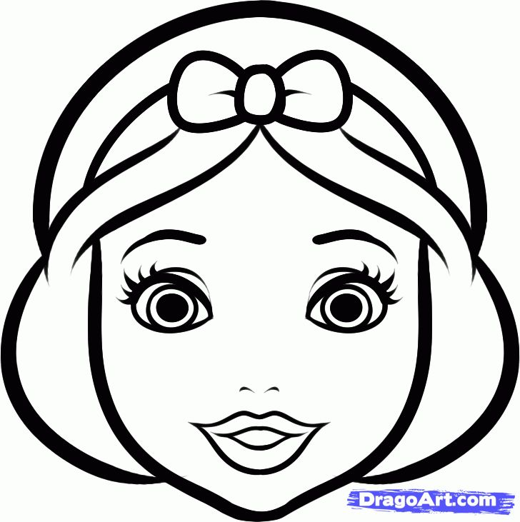 Раскраска голова девочки - 7