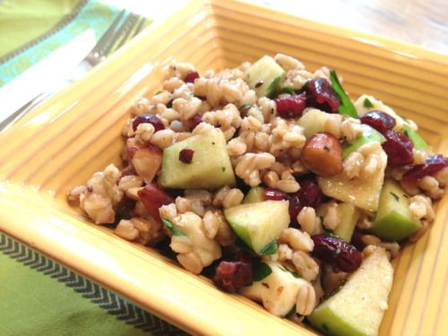 Farro Salad with Apples, Almonds and Smoked Mozzarella