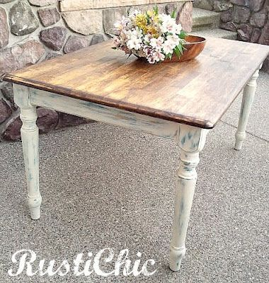Distressed Farm Table-Dining Room. I do miss the painted white elements of our previous house. Hmm...
