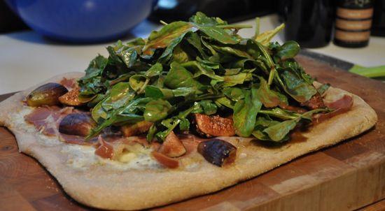 Fig, Prosciutto, Gorgonzola Pizza Topped With Balsamic Arugula Salad ...
