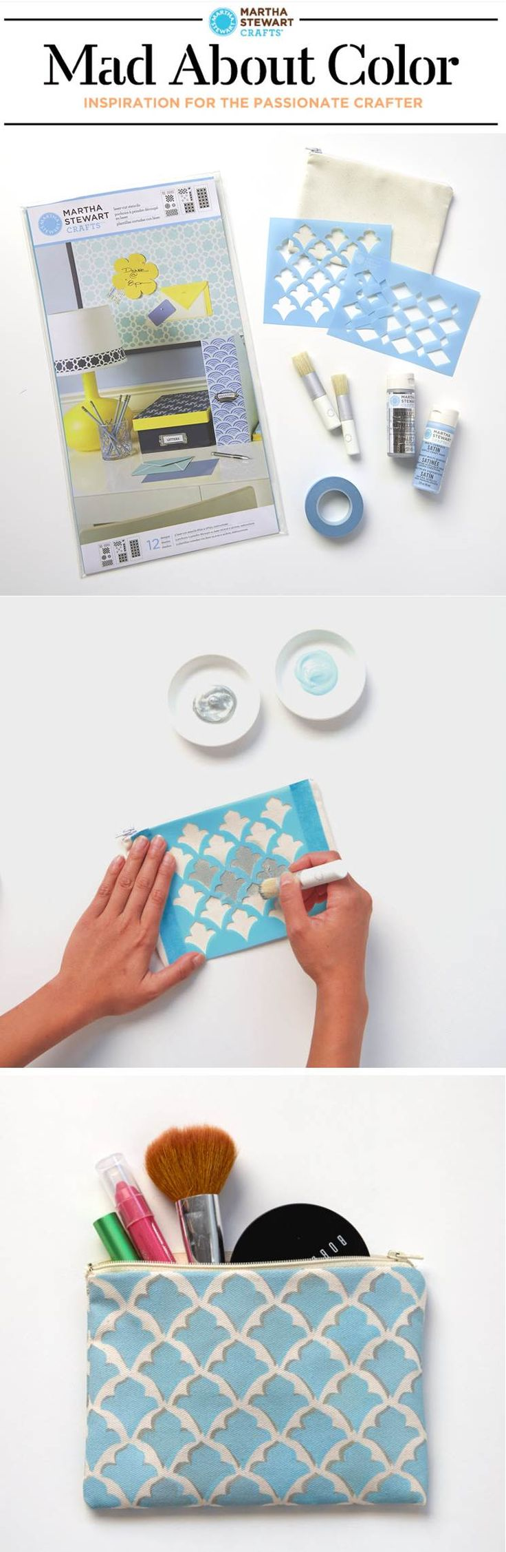 #DIY your own custom patterns with stencils and paints from #marthastewartcrafts. #madaboutcolor