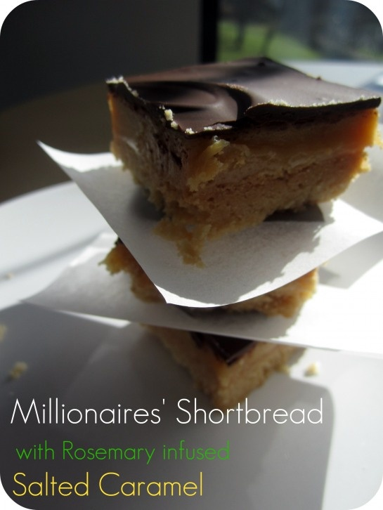 Millionaires Shortbread with Rosemary Infused Salted Caramel
