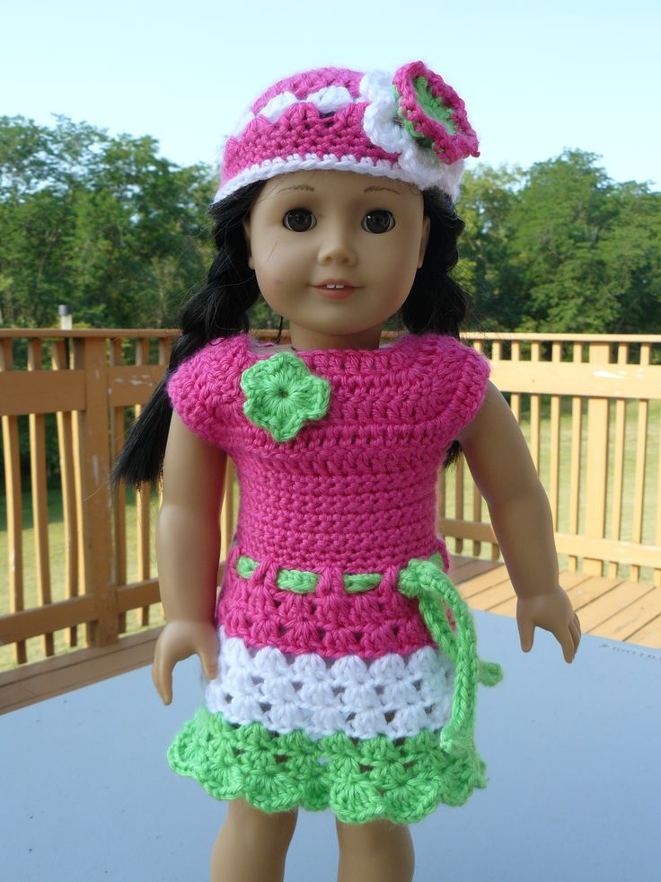 Crochet Dress Up Doll Pattern : crocheted 18 inch doll dress and hat crotchet patterns ...