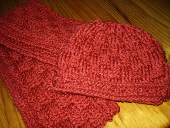 Crochet pattern hat and scarf for men or women by littlewhiteduck