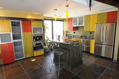 red green yellow kitchen house renovation and decor
