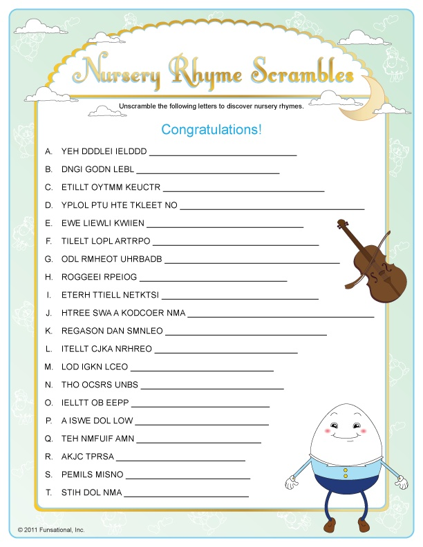baby shower game nursery rhyme printable baby shower game nursery