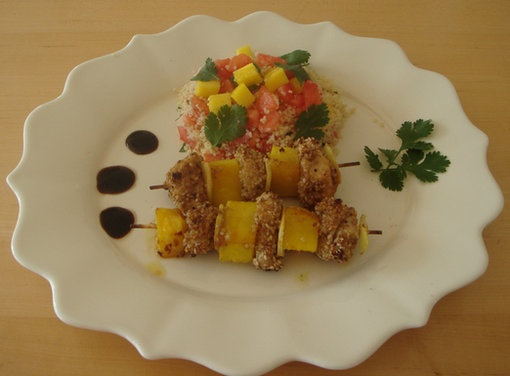 Honey and Mustard Chicken with Mango and Ginger Skewers | Recipe