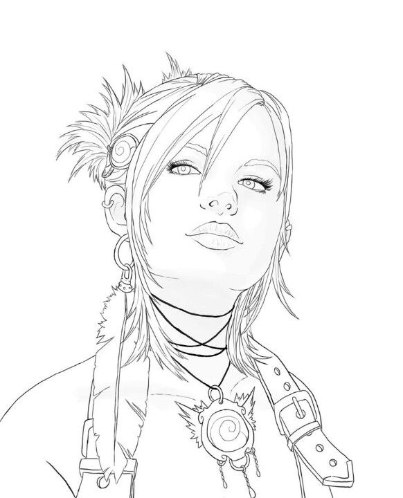 pretty girl face coloring pages - photo#8