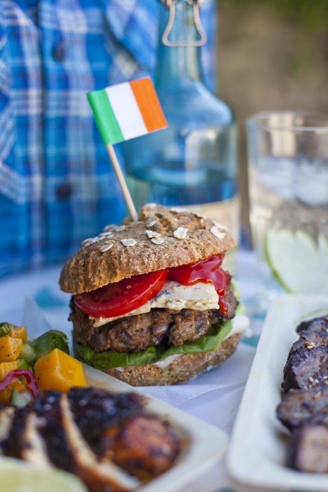 Irish Blue Cheese Burgers on homemade Irish soda bread buns - YUM