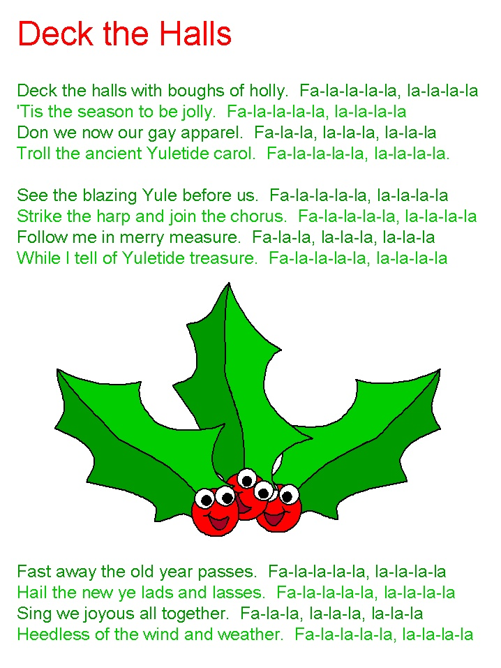 It is a photo of Dynamic Deck the Halls Lyrics Printable