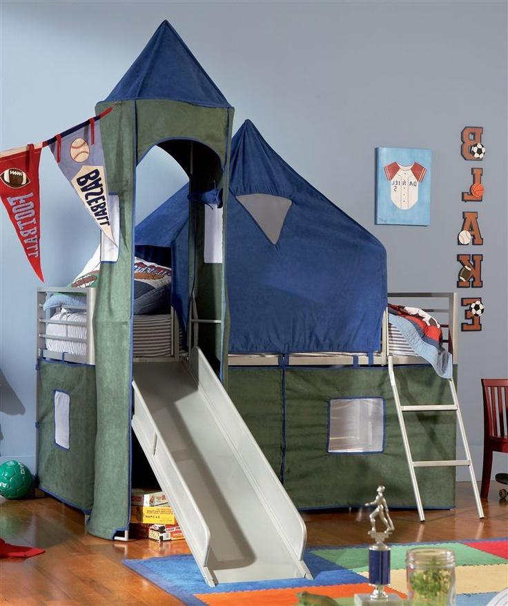 Boys Twin Tent Bunk Bed W Slide