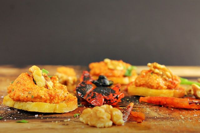 Roasted red pepper & walnut dip with crostini red peppers vegetable ...