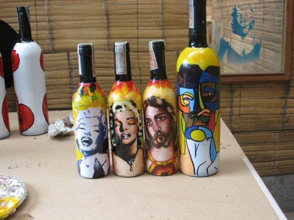 Botellas de vino decoradas pintura alejandro abril - Botellas de vino decoradas ...