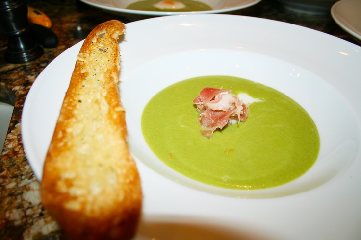 Asparagus soup with crispy parmesan baguette, soft poached egg, and ...