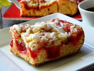 RED HAT CAKE...Quick Cherry Streusel Coffee Cake