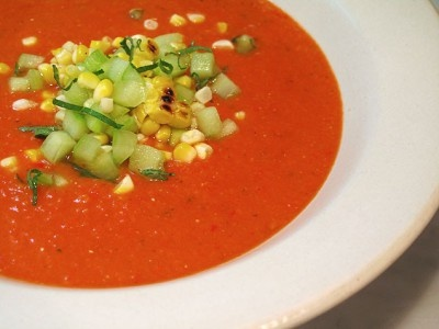 Grilled Gazpacho with Cucumber, Corn, and Mint