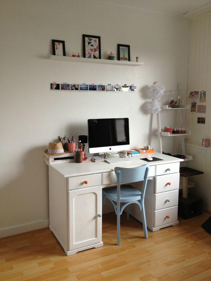 Idee deco bureau vintage etagere imac d co decoration pinterest for Idee bureau deco