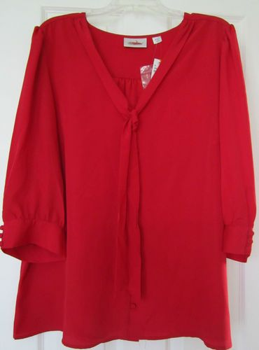 Women'S Plus Size Red Blouse 111