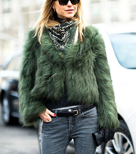 Fall/ winter outfit ideas. Jeans. Scarf. NYWF: All bundled up in a green fur coat