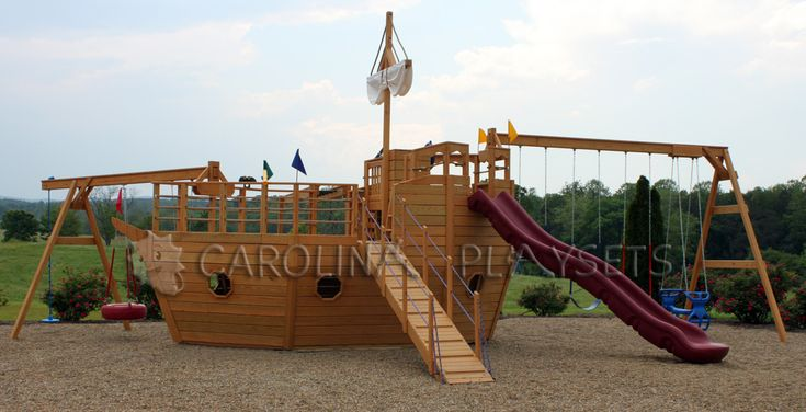 Pin by mandy bartlett on my house someday pinterest - Wooden pirate ship playhouse ...