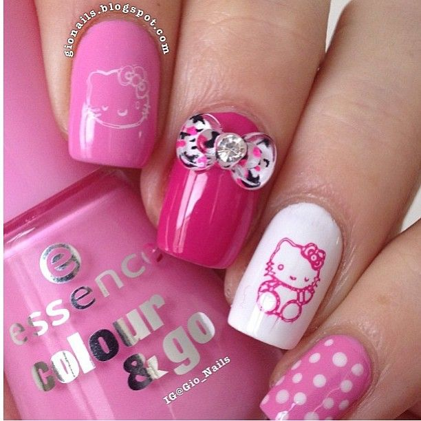 hello kitty nails   All Things Hello Kitty   Pinterest