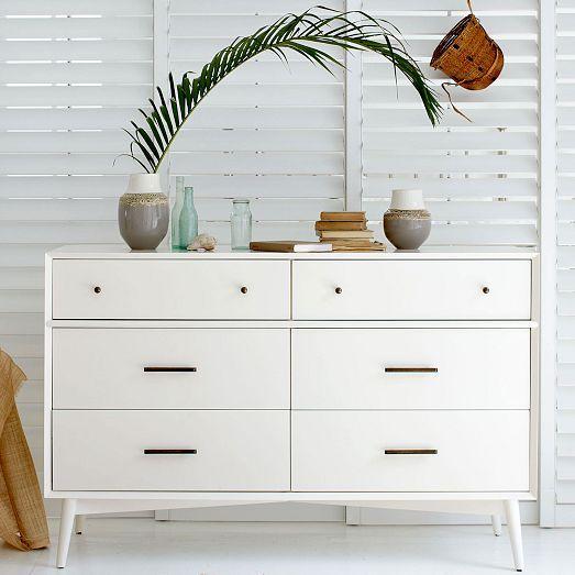 mid century 6 drawer dresser white. Black Bedroom Furniture Sets. Home Design Ideas