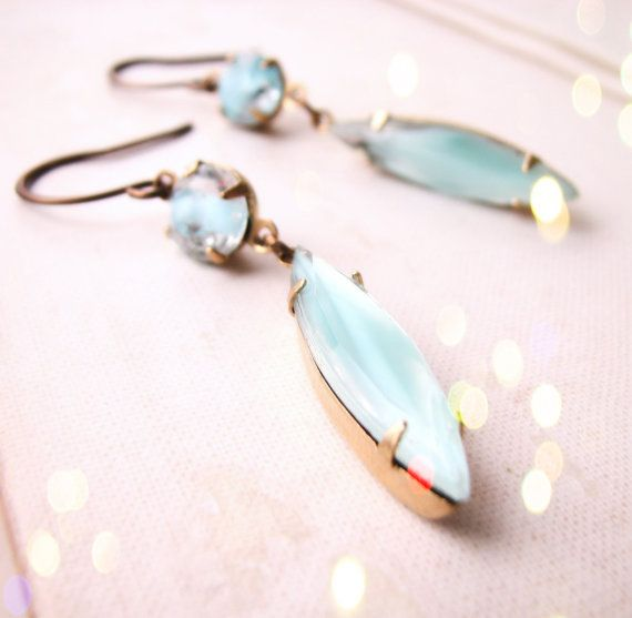 Summer jewelry turquoise givre art glass earrings
