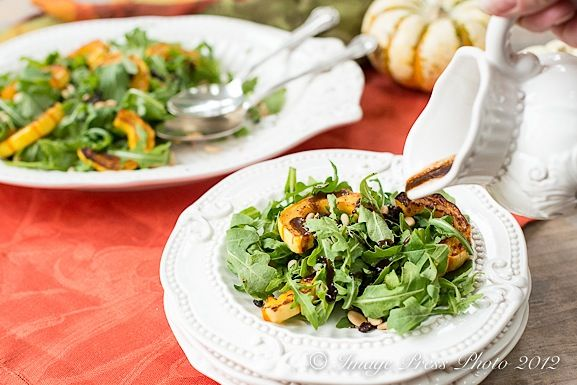 Arugula Salad with Roasted Squash, Currants, and Pine Nuts | Recipe