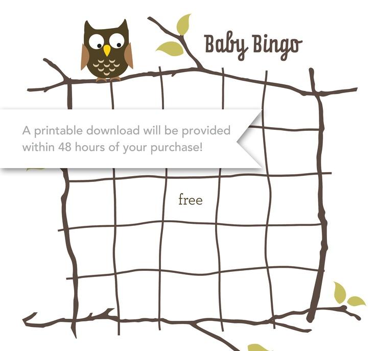 Printable Baby Owl Bingo / digital download. $6.00, via Etsy.