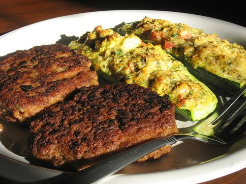 Turkey and bean burger with stuffed zucchini by arimou0, via Flickr