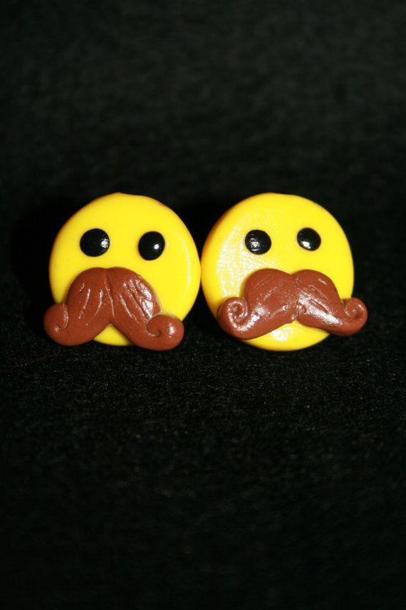 Tash smilies stud earrings by SilentiumCrafts on Etsy, £3.50 I think ...: pinterest.com/pin/115686284148014798
