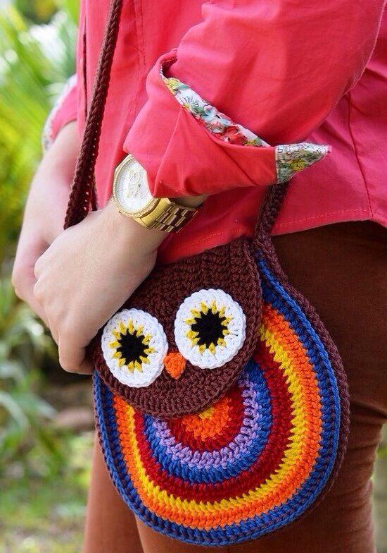 Crochet Pattern For Owl Bag : Crochet owl bag crochet bags Pinterest
