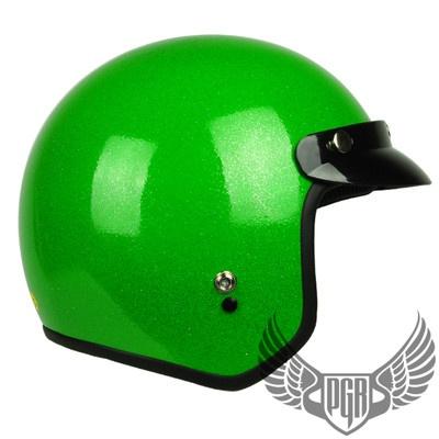 Neon Green Metalflake Vintage style 3/4 Motorcycle Open Face Helmet ...