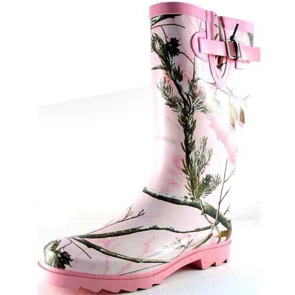 Pink camo rainboots shoes pinterest