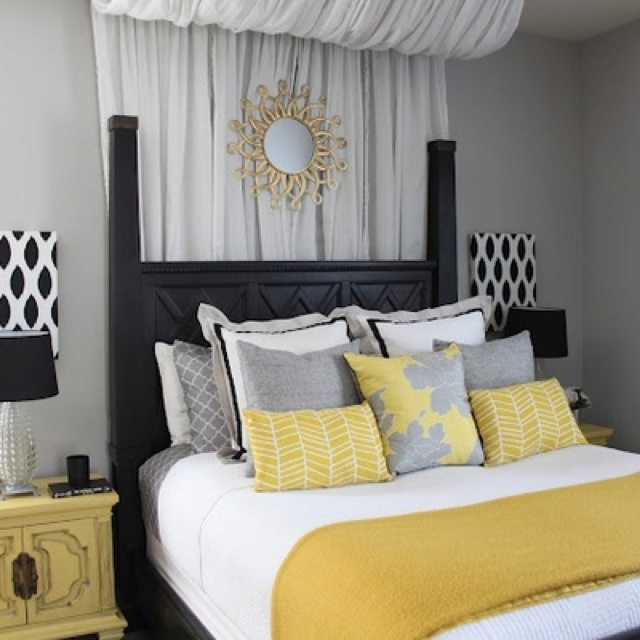 Yellow And Gray Bedroom For The Home Pinterest