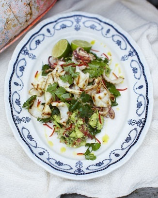 chargrilled squid with rustic guacamole food-and-drink