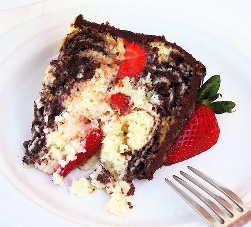 tres-leches marble cake with strawberries and chocolate ganache by ...