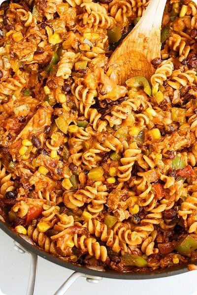 Cheesy Tex-Mex Chicken Pasta Skillet | Recipe