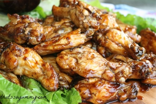 hoisin-soy glazed wings on the blog today www.thatssoyummy.com