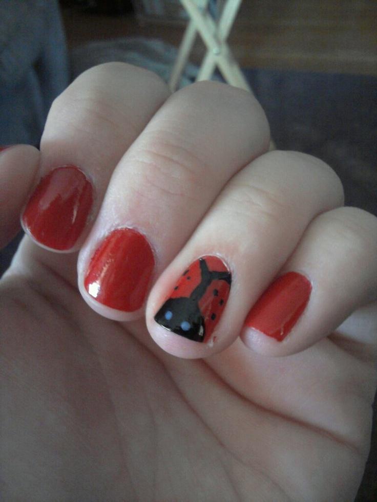 My ladybug nail art | Nail art ideas | Pinterest