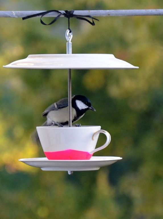 bird feeder cup saucer plate hope is a thing with. Black Bedroom Furniture Sets. Home Design Ideas