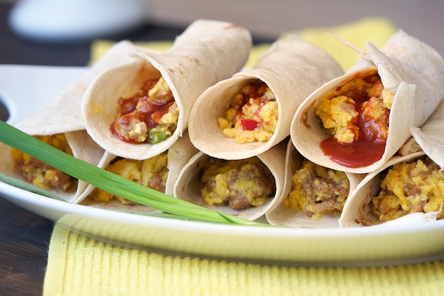 Breakfast Burritos made with hot Italian Sausage. You can easily alter ...