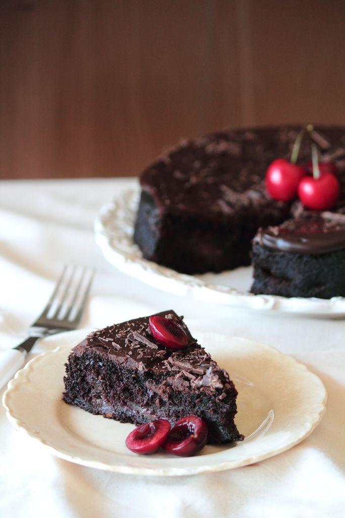chocolate cherry cake with chocolate glaze