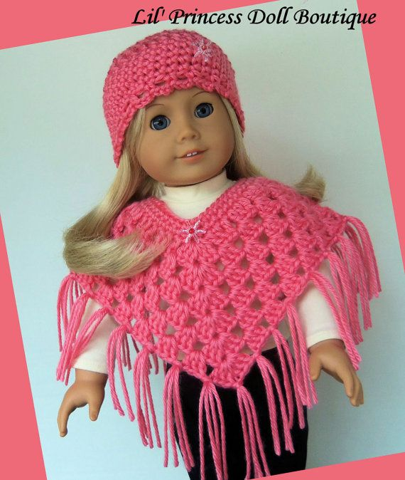 Fits American Girl Doll Crochet Poncho Set by ...